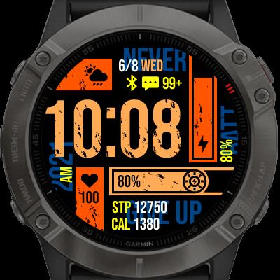 Overzichtelijke watch face op Garmin horloge. Kleuren en balken met Breakthrough.