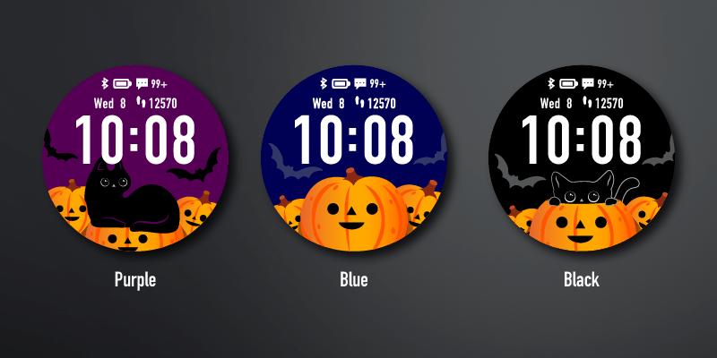 Halloween wathface app van Garmin zwarte kat op oranje pompoenen.