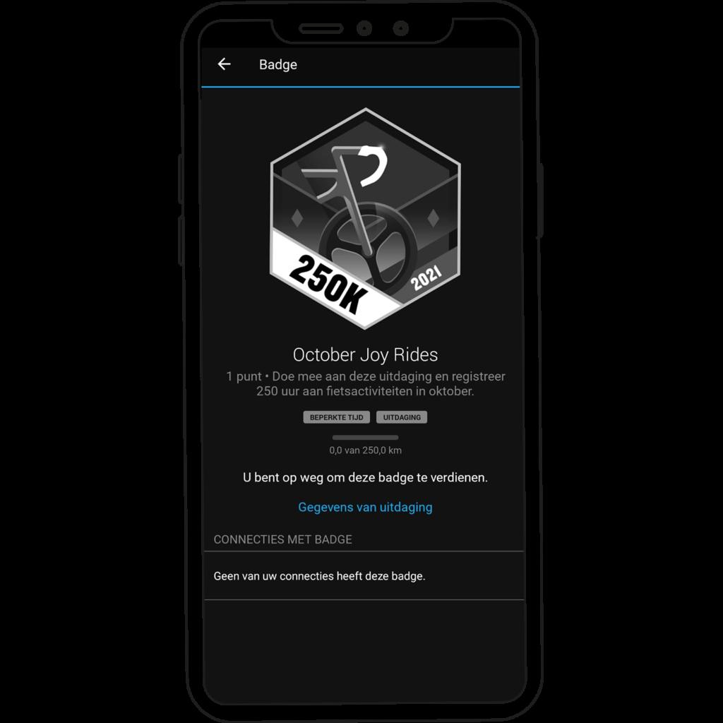 October Joy Rides badge op de  Garmin Connect app