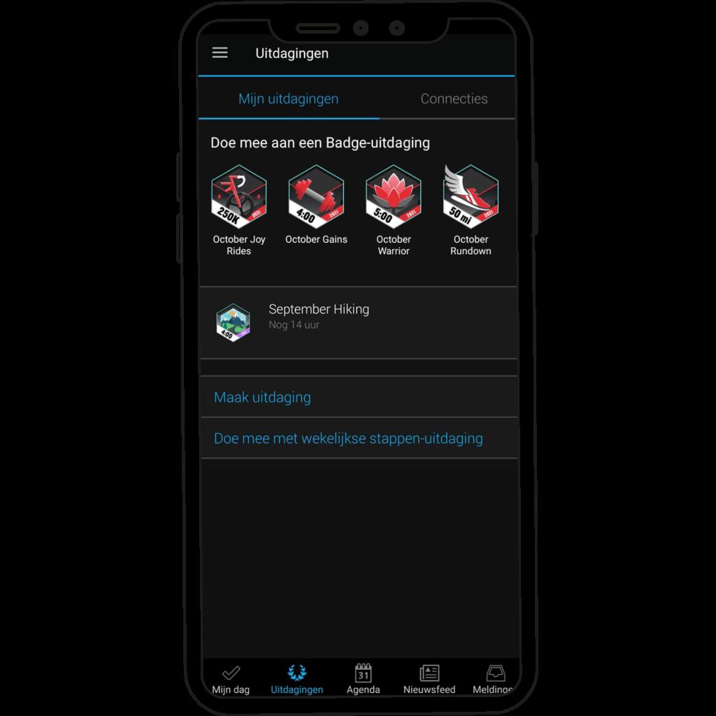 Challenges van oktober op de Garmin Connect app