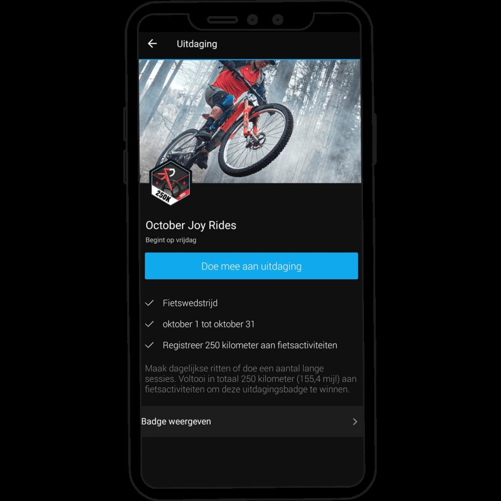 October Joy Rides challenge op de Garmin Connect app