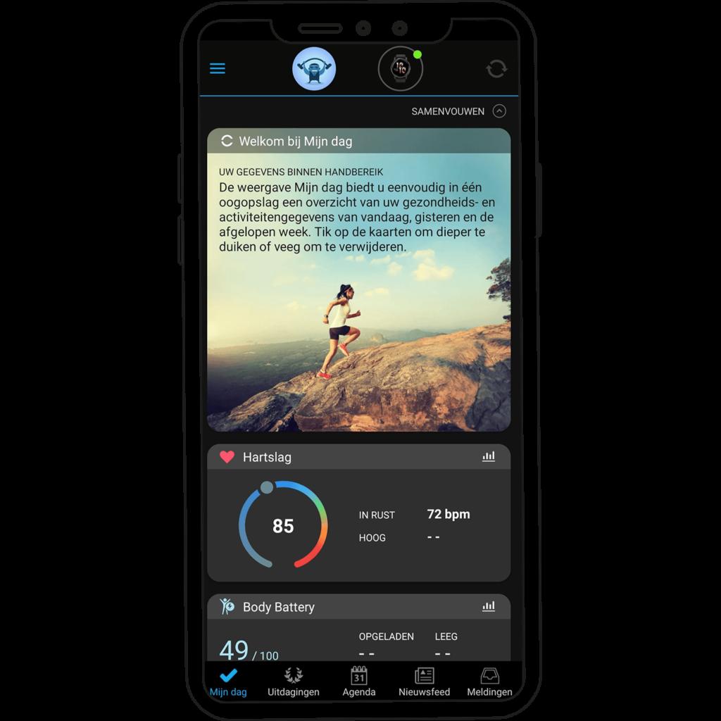 Startscherm Garmin Connect app